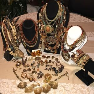 Lot of 69 pieces of wearable earth tone jewelry